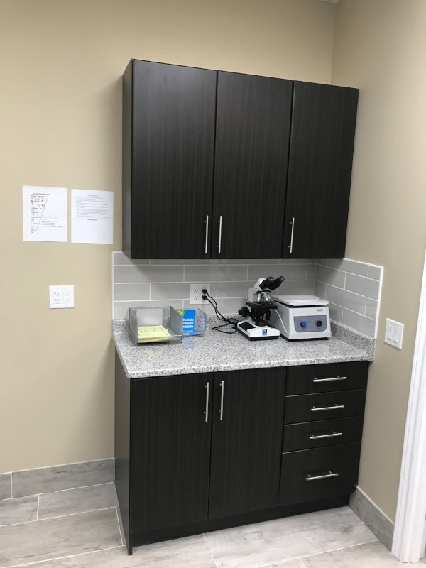 Storage cabinets in the back of the clinic